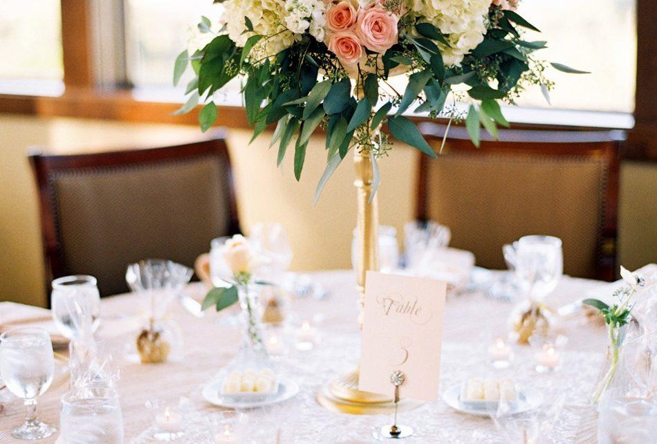 Blush & gold wedding centerpiece