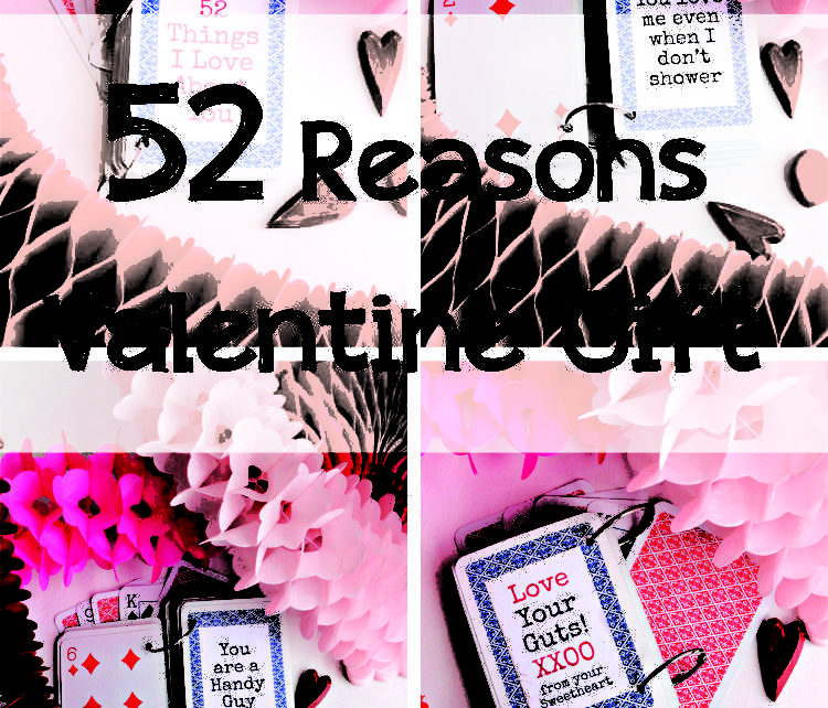 "Looking for a quick & easy DIY Valentine Gift idea? I have just the thing. Turn a deck of playing cards into a ""52 Reasons I love You"" book. Your Sweetie will swoon! This idea is perfect for an anniversary gift or birthday gift."