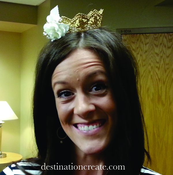 Baby crown made from gold painted lace