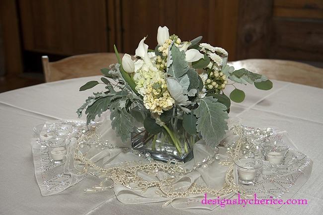 Rustic chic Colorado Mountain wedding white centerpiece