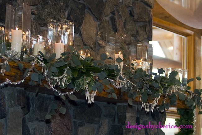 Mantel decor-candles and beads