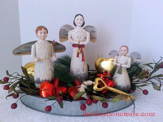 Folk Art Angel Valentine Vignette