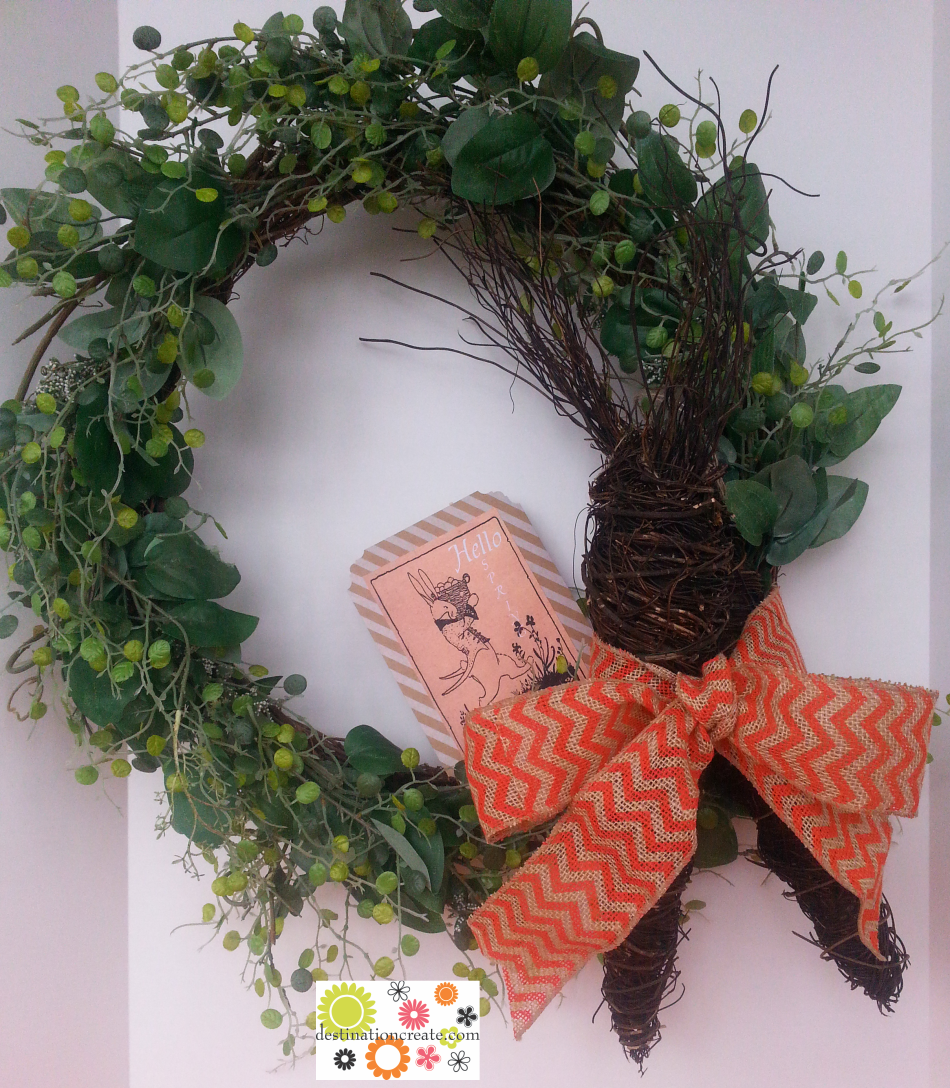 Spring wreath with vine carrots