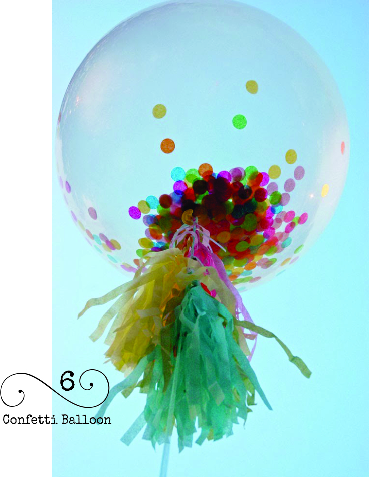 THis is such a cheerful balloon decorating idea. Fill a clear balloon with confetti before inflating