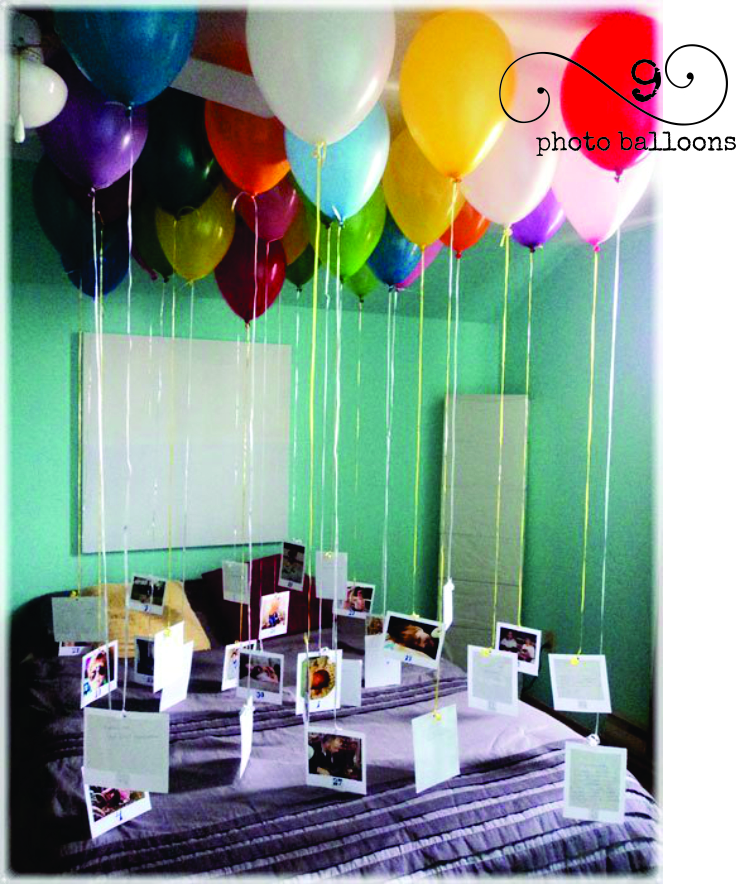 I just love this balloon idea! Hang photos from helium balloons for a birthday surprise or a graduation day or an anniversary.