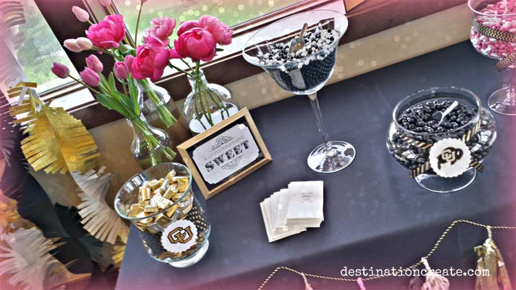 3 party favor table ideas. Nothing like a candy buffet to get party guests smiling.