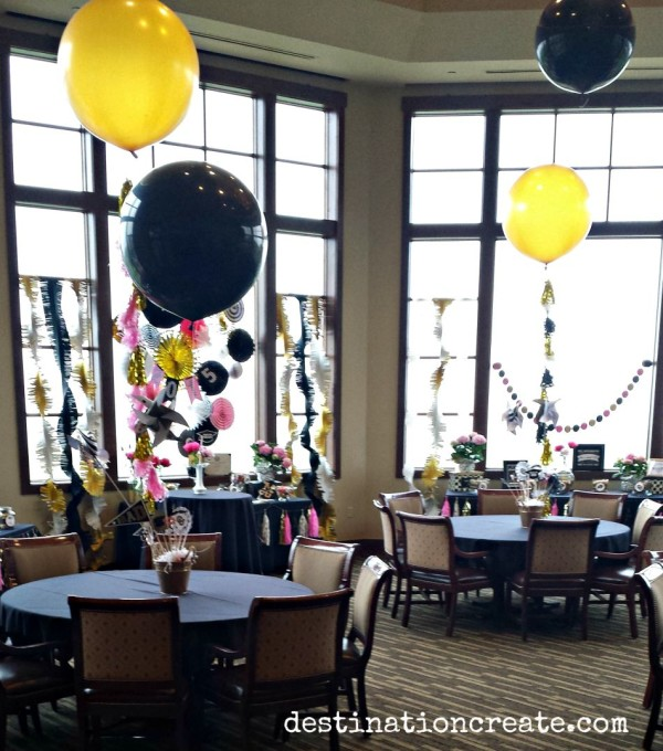 Guests at this college graduation party ate, drank and played with giant balloons