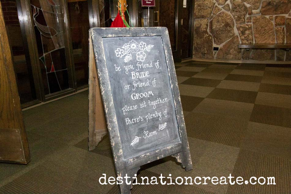 wedding seating chalkboard sign